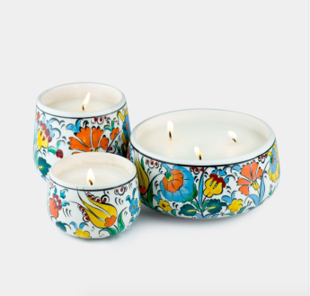 Hand Painted Ceramic Candles | $38